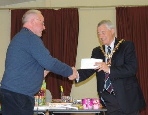 John Massey MBE presents Councillor Dave Tyler Mayor of Dudley with a cheque for the Mayors Charity Appeal
