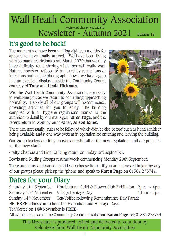 Wall Heath Community Association Autumn 2021 Newsletter Download